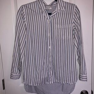 Madewell- Blue and Black Button Up Top